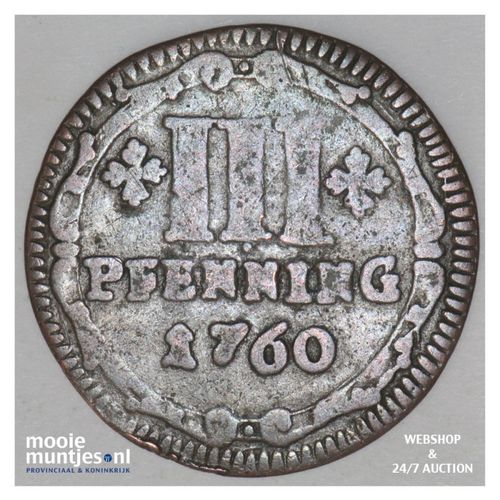 3 pfenning - (cathedral chapter) - German States/Munster 1760 (KM 430) (kant A)