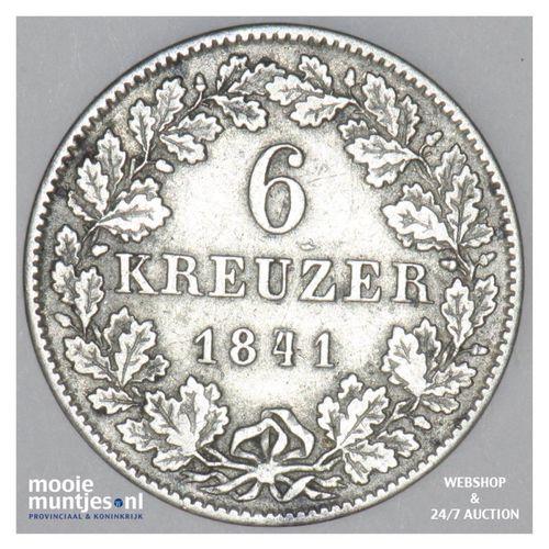 6 kreuzer - grand duchy - German States/Hesse-Darmstadt 1841 (KM 306) (kant A)