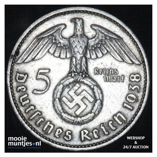 5 reichsmark - Third Reich 1938 A (KM 94) (kant A)