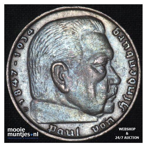 5 reichsmark - Third Reich 1939 D (KM 94) (kant B)