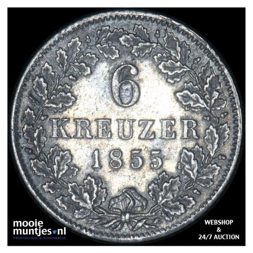 6 kreuzer - kingdom (regular coinage) - German States/Wurttemberg 1855 (KM 592)