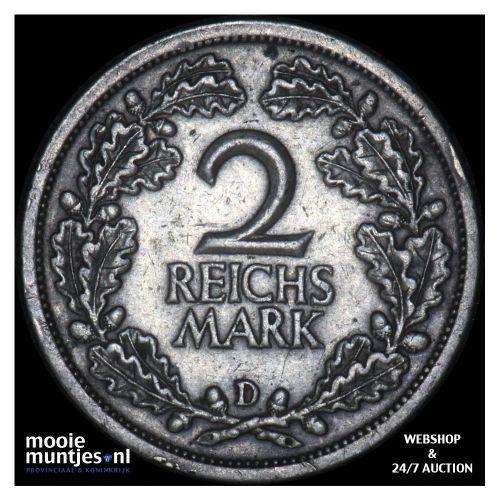 2 reichsmark - Weimar Republic 1826 D (KM 45) (kant B)