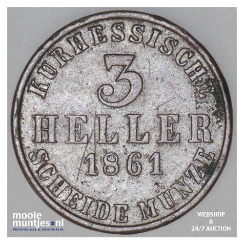 3 heller - electorate (regular coinage) - German States/Hesse-Cassel 1861 (KM 61