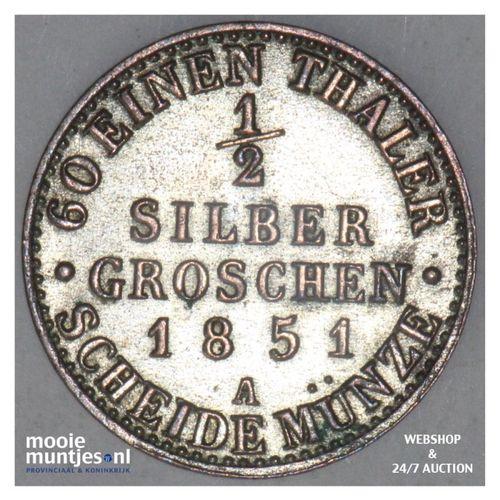 1/2 silber groschen - German States/Prussia 1851 (KM 434) (kant A)