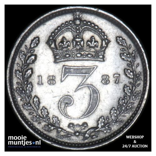 3 pence - Great Britain 1887 (KM 758) (kant A)