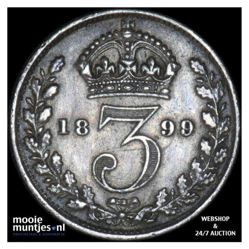 3 pence - Great Britain 1899 (KM 777) (kant A)