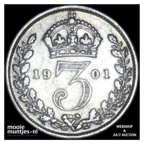 3 pence - Great Britain 1901 (KM 777) (kant A)