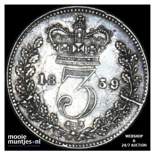 3 pence - Great Britain 1859 (KM 730) (kant A)