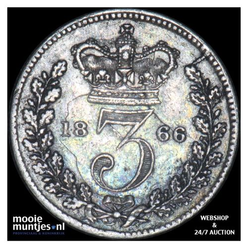 3 pence - Great Britain 1866 (KM 730) (kant A)