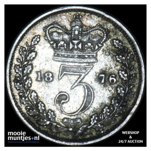 3 pence - Great Britain 1876 (KM 730) (kant A)