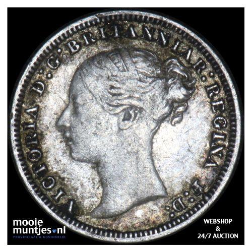 3 pence - Great Britain 1876 (KM 730) (kant B)