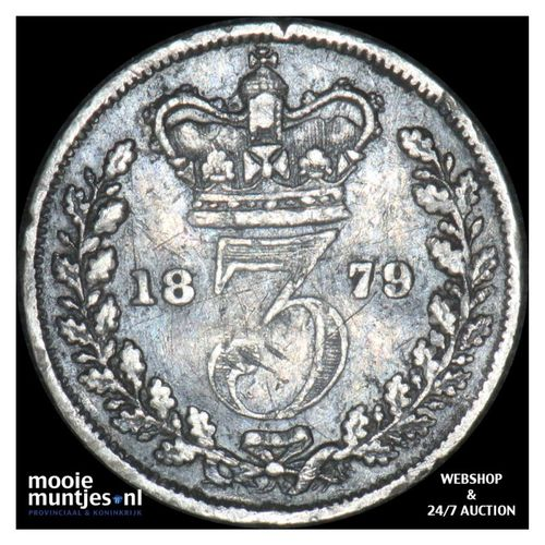 3 pence - Great Britain 1879 (KM 730) (kant A)