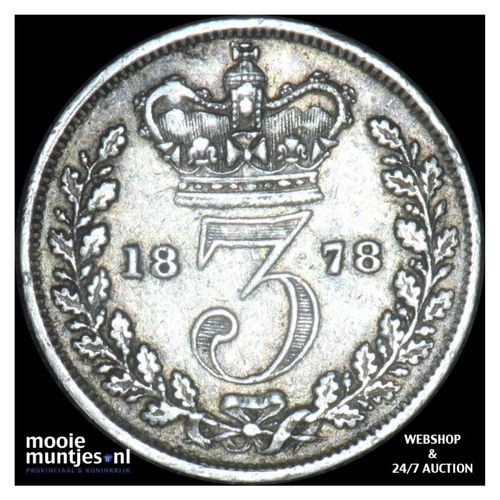 3 pence - Great Britain 1878 (KM 730) (kant A)