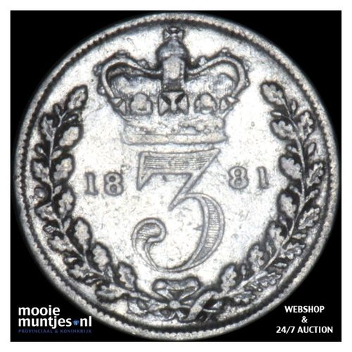 3 pence - Great Britain 1881 (KM 730) (kant A)