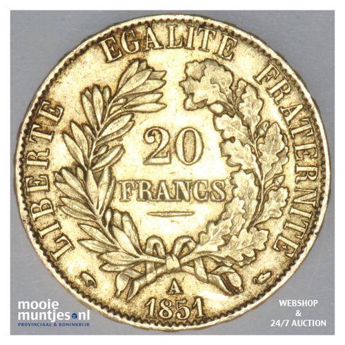 20 francs - France 1851 A (Paris) (KM 762) (kant A)