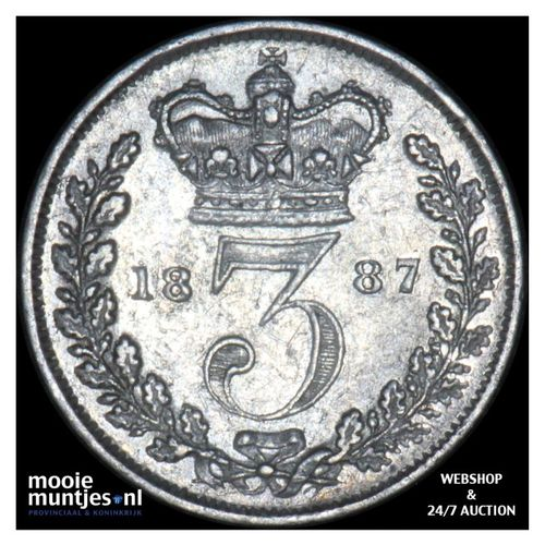 3 pence - Great Britain 1887 (KM 730) (kant A)
