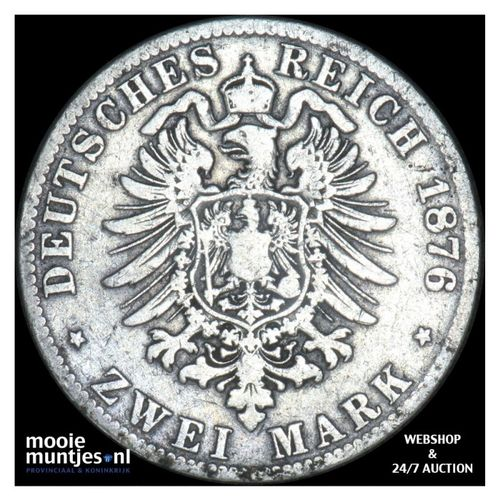 2 mark - reform coinage - German States/Bavaria 1876 (KM 903) (kant A)