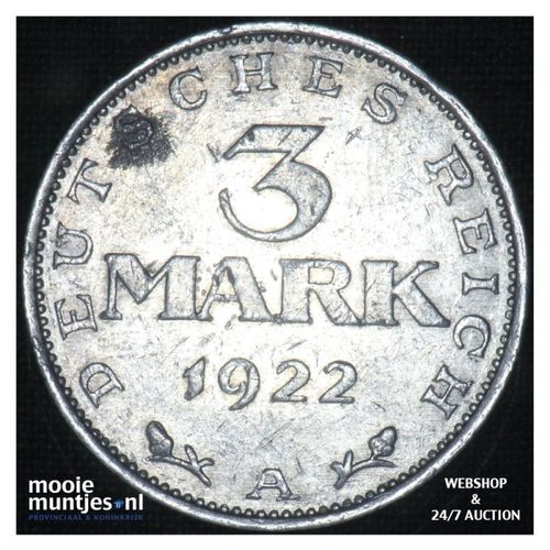 3 mark - Germany-Weimar Republic 1922 A (KM 28) (kant A)