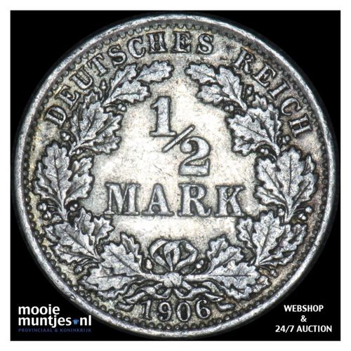 1/2 mark - Germany 1906 A (KM 17) (kant A)