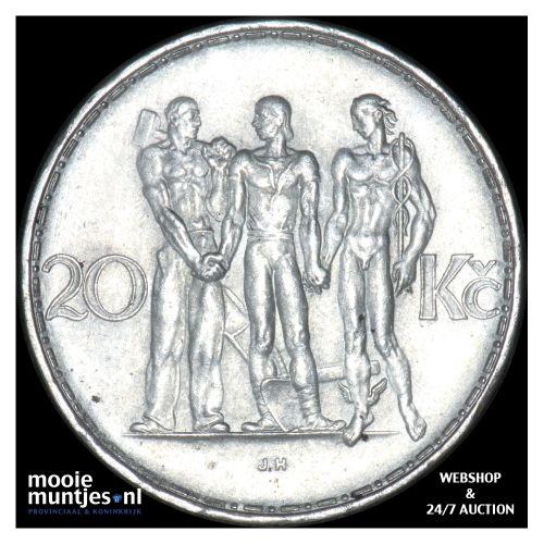 20 korun - Czechoslovakia 1933 (KM 17) (kant B)