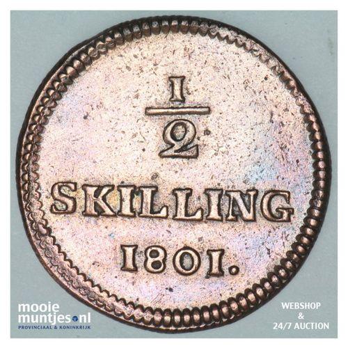 1/2 skilling - Sweden 1801 (KM 549) (kant A)