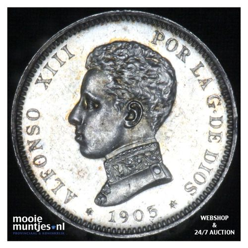 2 pesetas - kingdom - Spain 1905 (KM 725) (kant A)