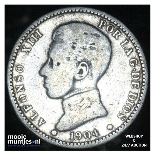 peseta - kingdom - Spain 1904 (KM 721) (kant A)