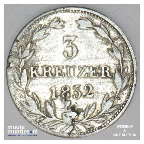 3 kreuzer - united Nassau - German States/Nassau 1832 (KM 61) (kant A)