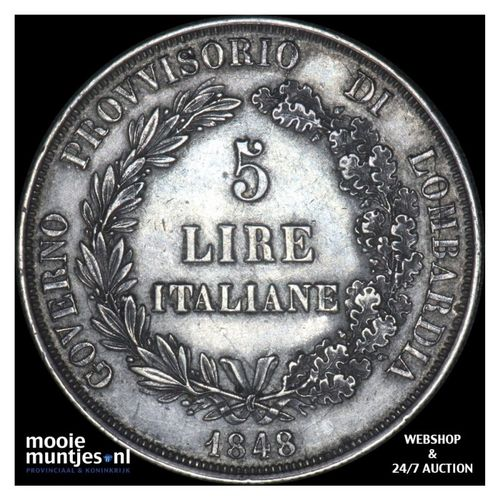 5 lire - revolutionary provisional government - Italian States/Lombardy-Venetia
