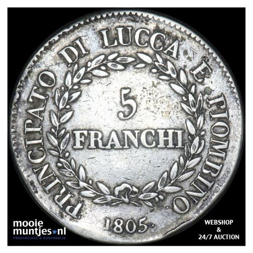 5 franchi - Italian States/Lucca 1805. (KM 24.2) (kant A)