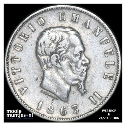 2 lire - Italy 1862 (KM 16.1) (kant A)