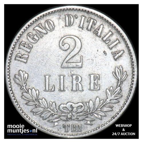 2 lire - Italy 1862 (KM 16.1) (kant B)