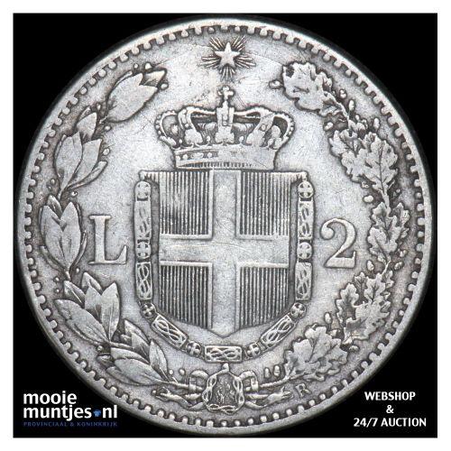 2 lire - Italy 1884 (KM 23) (kant B)