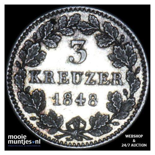 3 kreuzer (groschen) - German States/Bavaria 1848 (KM 800) (kant A)