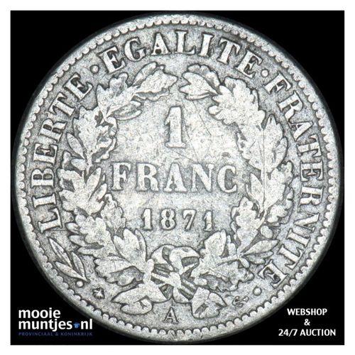 franc - France 1871 A (KM 822.1) (kant A)