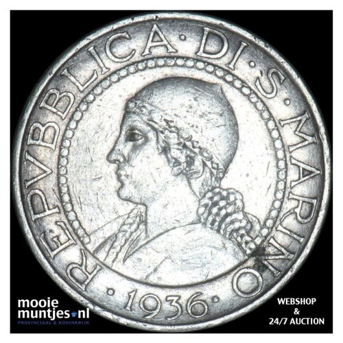 5 lire - San Marino 1936 (KM 9) (kant A)