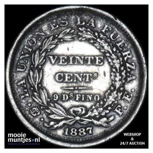 20 centavos - first republic - Bolivia 1887 (KM 159.2) (kant A)