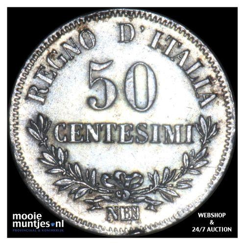 50 centesimi - Italy 1863 N (KM 14.2) (kant B)