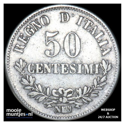 50 centesimi - Italy 1867 N (KM 14.2) (kant B)