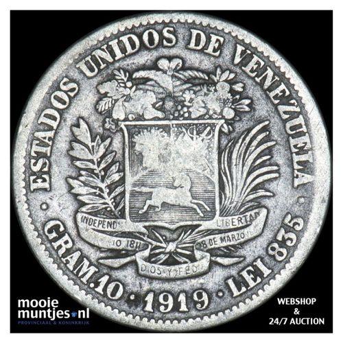 gram 10 (2 bolivares) - Venezuela 1919 (KM Y# 23) (kant A)