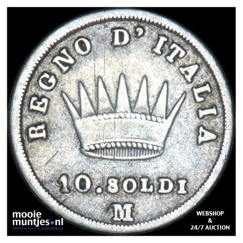 10 soldi - Italian States/Kingdom of Napoleon 1809 M (KM C# 6.1) (kant B)