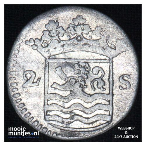 Zeeland - Dubbele wapenstuiver - 1733 over 24 (kant B)