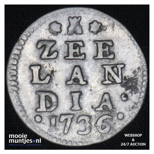 Zeeland - Dubbele wapenstuiver - 1736 (kant A)