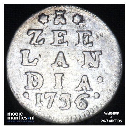 Zeeland - Dubbele wapenstuiver - 1736 over 34 (kant A)