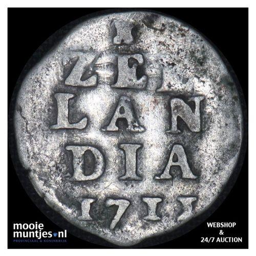 Zeeland - Dubbele wapenstuiver - 1711 (kant A)