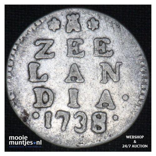 Zeeland - Dubbele wapenstuiver - 1738 over 34  (kant A)