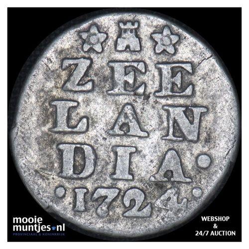 Zeeland - Dubbele wapenstuiver - 1724 (kant A)