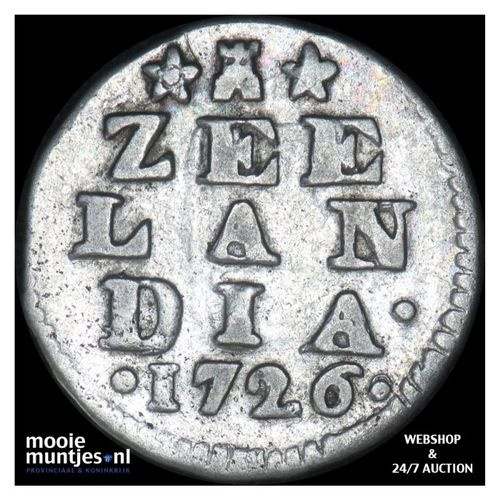 Zeeland - Dubbele wapenstuiver - 1726 (kant A)