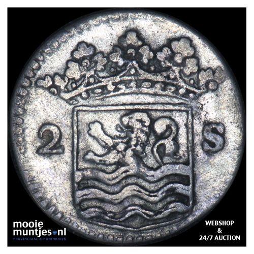 Zeeland - Dubbele wapenstuiver - 1729 (kant B)