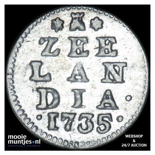 Zeeland - Dubbele wapenstuiver - 1735 (kant A)